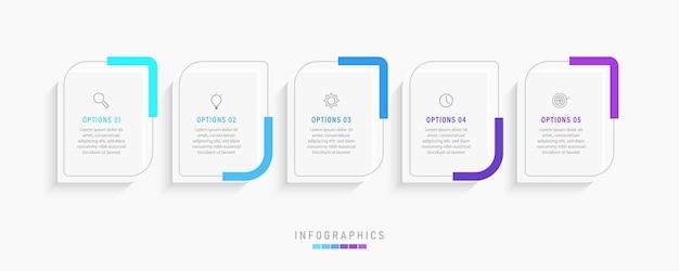 Modello di progettazione di etichette infografiche con icone e 5 opzioni o passaggi.