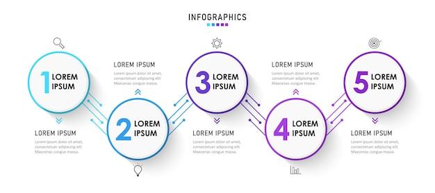 Modello di progettazione di etichette infografiche con icone e 5 opzioni o passaggi
