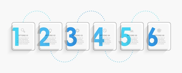 Modello di progettazione di etichette infografiche con icone e 6 opzioni o passaggi.