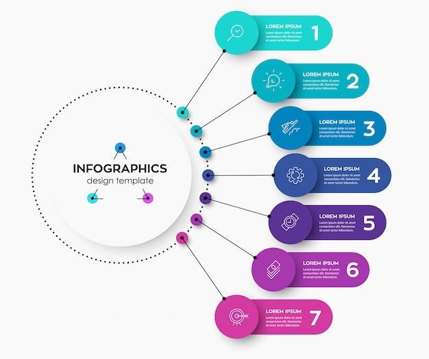 Modello di progettazione etichetta infografica con icone e 7 opzioni o passaggi.