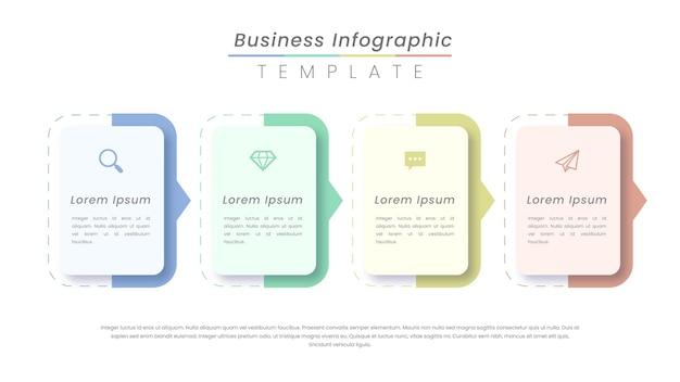 Progettazione di etichette infografiche con icone e 4 opzioni o passaggi.