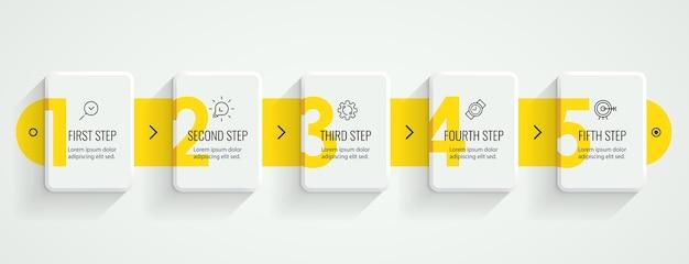 Progettazione di etichette infografiche con icone e 5 opzioni o passaggi. infografica per il concetto di business.