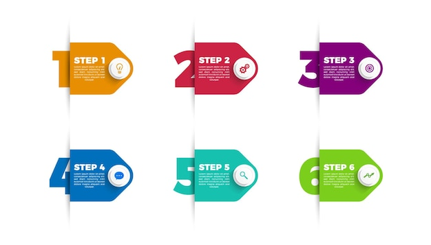 Progettazione di etichette infografica con icone e 6 opzioni o passaggi. infografica per il concetto di business. stile carta origami