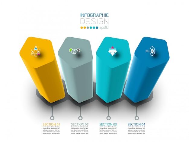 Progettazione di etichette infografiche con colonne a pentagono.