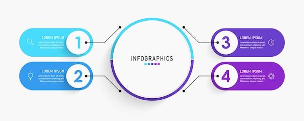 Modello di etichetta infografica con icone e opzioni o passaggi.