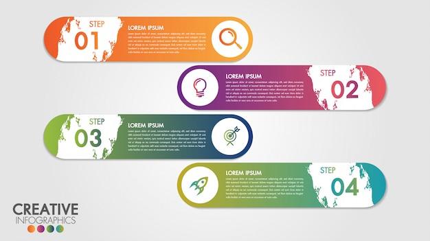 Modello di vettore di progettazione moderna di infographic per affari con 4 passaggi o opzioni