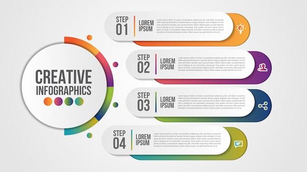 Modello moderno di infografica per affari con passaggi o opzioni