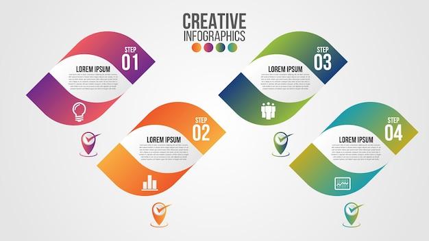 Modello di progettazione timeline moderna infografica per affari con 4 passaggi o opzioni