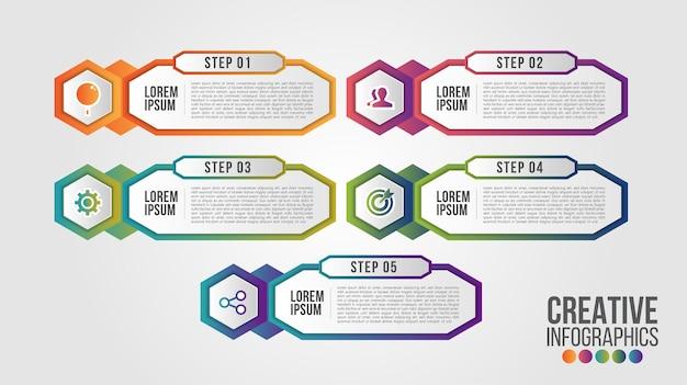 Modello di progettazione timeline moderna infografica per affari con 5 passaggi o opzioni