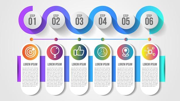 Modello di progettazione timeline moderna infografica per affari con 6 passaggi o opzioni