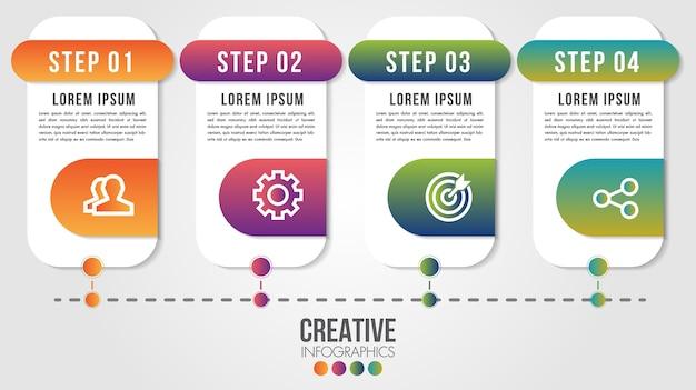 Modello di progettazione timeline moderna infografica per affari con passaggi o opzioni illustrano
