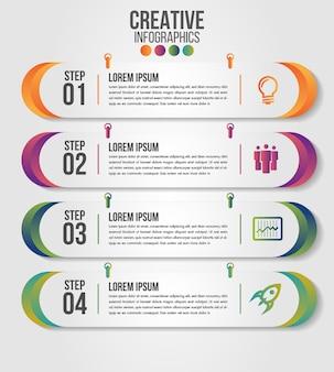 Modello di vettore di progettazione timeline moderna infografica per affari con passaggi o opzioni