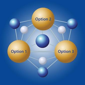 Struttura della molecola infografica su sfondo di colore blu