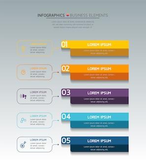 Presentazione e grafico di infografica, passaggi o processi, modello di flusso di lavoro del numero di opzioni