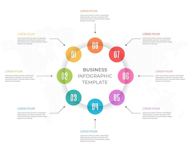 Modello di presentazione infografica 8 opzioni.