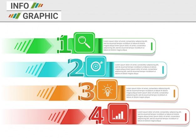 Presentazione infografica con quattro passaggi