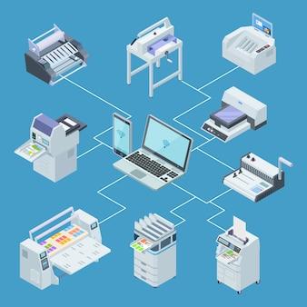 Attrezzatura della casa di stampa infographic. plotter stampante, concetto di vettore isometrico di macchine da taglio offset