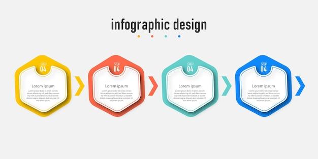 Grafico dei passaggi del processo infografico con la linea informazioni sul concetto illustrazione delle informazioni sui passaggi