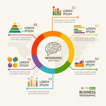 Infografica rotonda con grafico e diagramma.