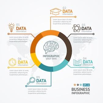 Infografica rotonda con posto per il tuo testo e dati.