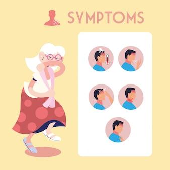 Infografica che mostra incubazione e sintomi con icone e persona infetta