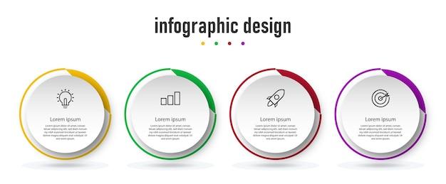 Elenco dell'elenco dei cerchi di passi di infografica