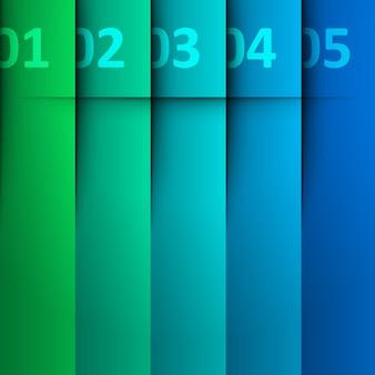 Modello di segnalibri strisce infografiche.