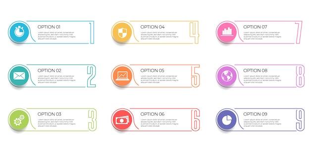 Modello di infografica 9 opzioni.