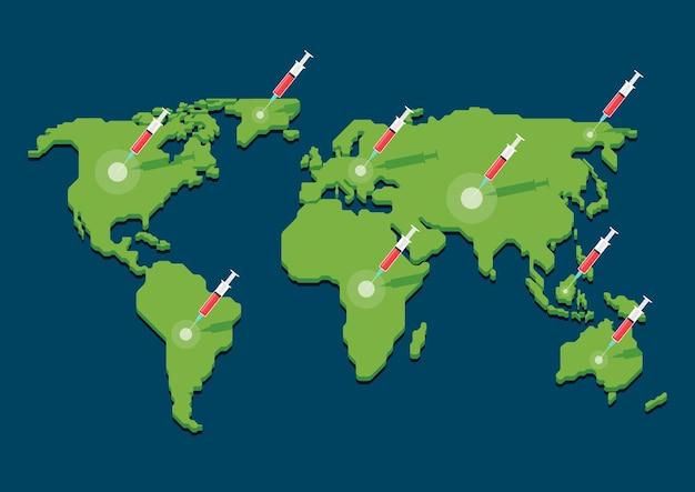 Modello di infografica design della vaccinazione covid19 in tutto il mondo concept design piatto stile illustrazione vettoriale