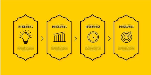 Modello di progettazione infografica con 4 opzioni, concetto di visualizzazione dei dati aziendali, stile icone linea sottile su sfondo giallo