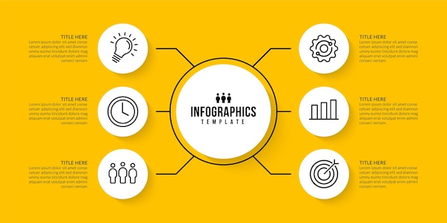 Design del modello infografico con 6 opzioni su sfondo giallo concetto di visualizzazione dei dati aziendali