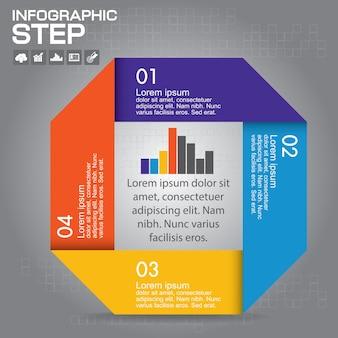 Infografica. modello per diagramma, grafico, presentazione e grafico. concetto di affari con 4 opzioni, parti, passaggi o processi.