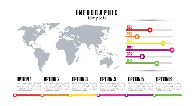 Statistiche del modello di infografica con progettazione dell'illustrazione delle mappe del pianeta terra