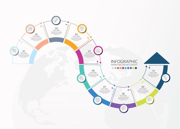 Modello infografico con 10 passaggi, processo o opzioni, diagramma di processo, utilizzato per diagramma di processo, presentazioni, layout del flusso di lavoro, diagramma di flusso, infografico. illustrazione di vettore eps10.