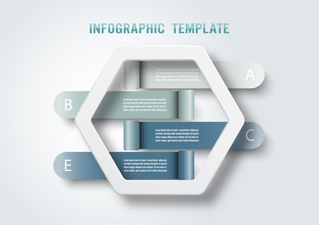 Modello di infografica con etichetta di carta 3d, cerchi integrati. concetto di affari con 4 opzioni. per contenuto, diagramma, diagramma di flusso, passaggi, parti, infografiche della sequenza temporale, flusso di lavoro, grafico.