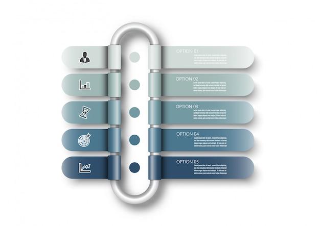 Modello di infografica con etichetta di carta 3d, cerchi integrati. concetto di business con 5 opzioni. per contenuto, diagramma, diagramma di flusso, passaggi, parti, cronologia, flusso di lavoro, grafico.