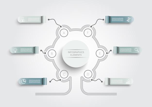Modello di infografica con etichetta di carta 3d, cerchi integrati. concetto di affari con 6 opzioni.