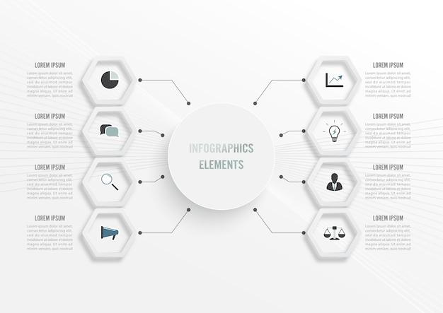 Modello di infografica con etichetta di carta 3d, cerchi integrati. concetto di affari con 8 opzioni. per contenuto, diagramma, diagramma di flusso, passaggi, parti, infografiche della sequenza temporale, flusso di lavoro, grafico.