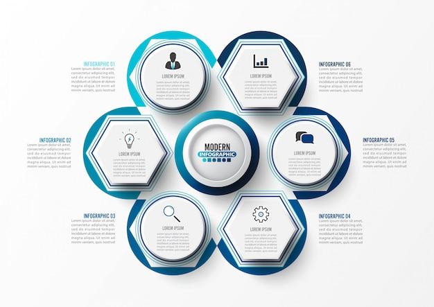 Modello di infografica con etichetta di carta 3d.