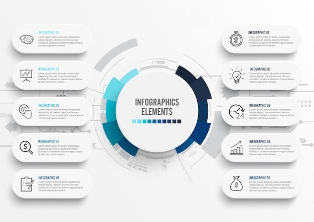 Modello di infografica con etichetta di carta 3d. Vettore Premium