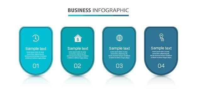 Modello infografico con 4 opzioni per il business
