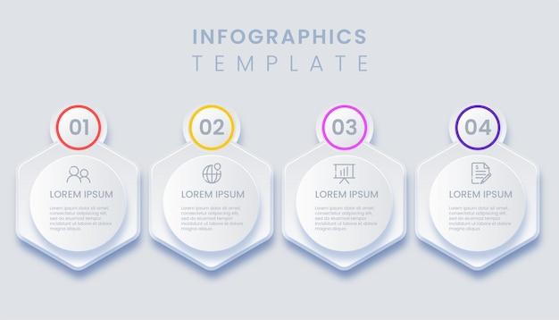 Modello di infografica con 4 opzioni di illustrazione