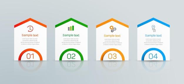 Modello di infografica con 4 opzioni o passaggi