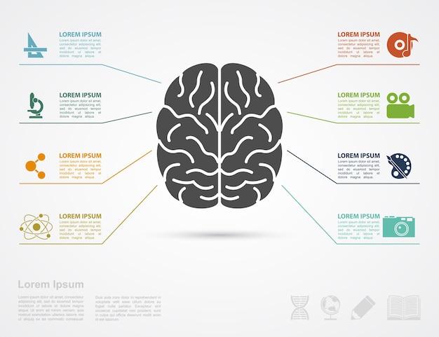 Modello di infografica con sagoma del cervello e icone af erts e scienza
