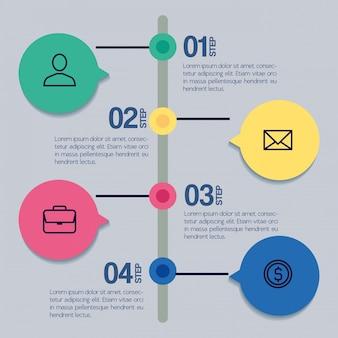 Modello di infographic con il concetto delle icone di affari