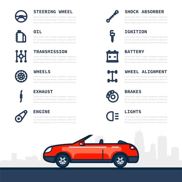 Modello di infografica con icone di parti di automobili e automobili