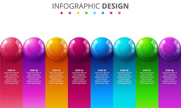 Modello di infografica con palline di colore
