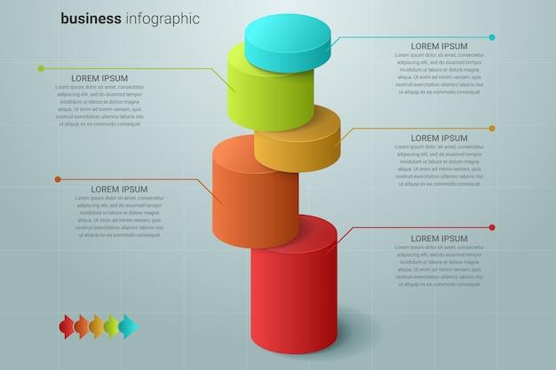 Modello di infografica con cilindri colorati