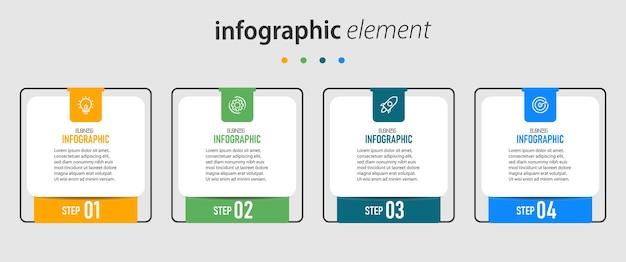 Modello di infografica con quattro passaggi
