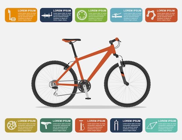 Modello di infografica con mountain bike e icone, illustrazione di stile